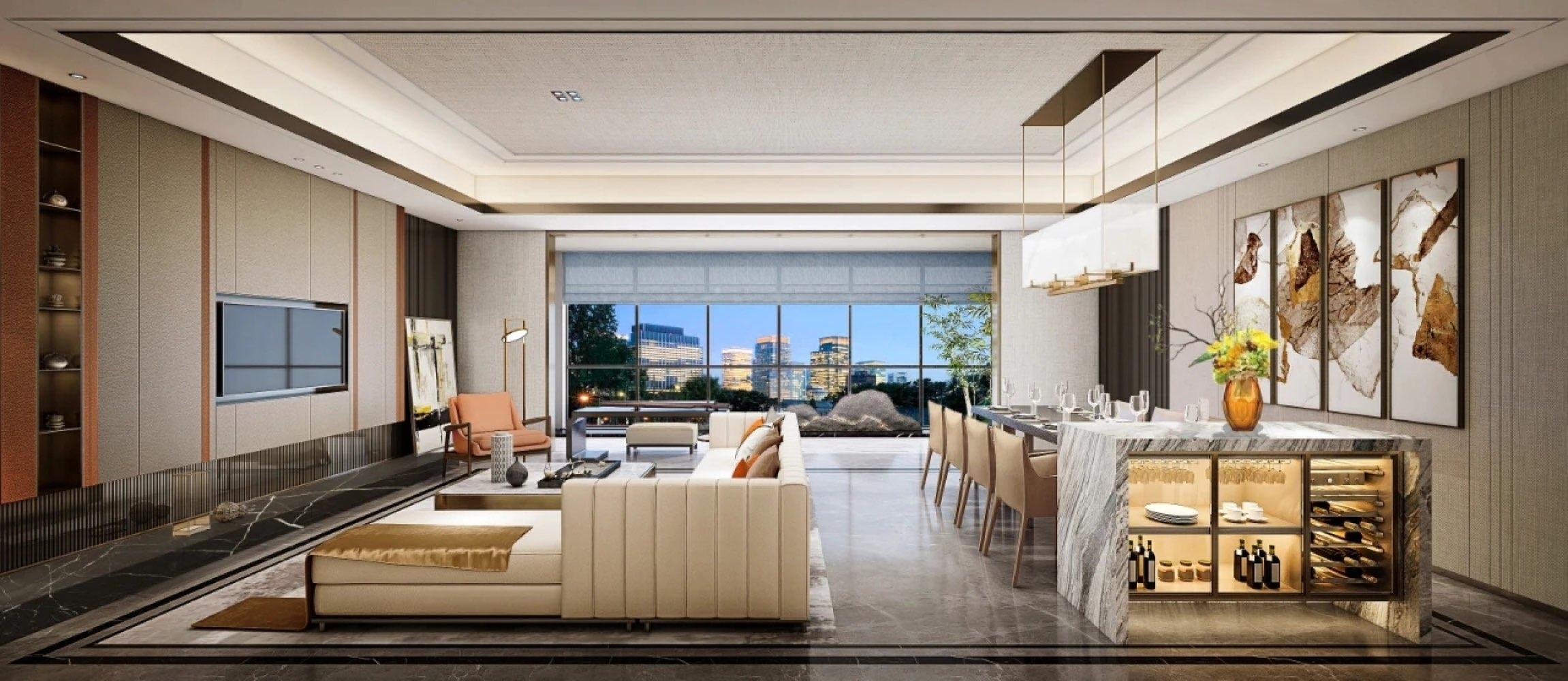 三面环山 底层洋房 7.5米客厅开间 太师椅风格布局 纯舒适