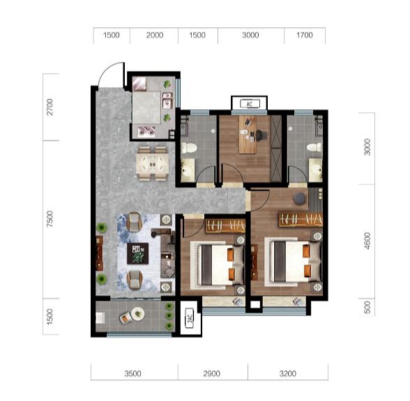 济南济高梧桐郡户型图1--113平三室两厅两卫