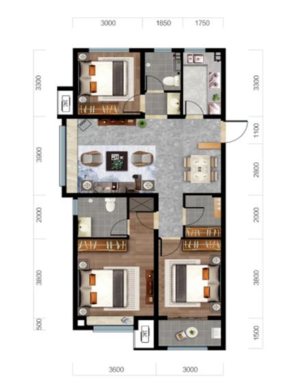 济南济高梧桐郡户型图2--124平三室两厅两卫