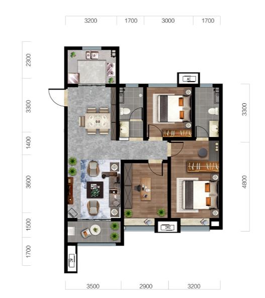 济南济高梧桐郡户型图3--125平三室两厅两卫