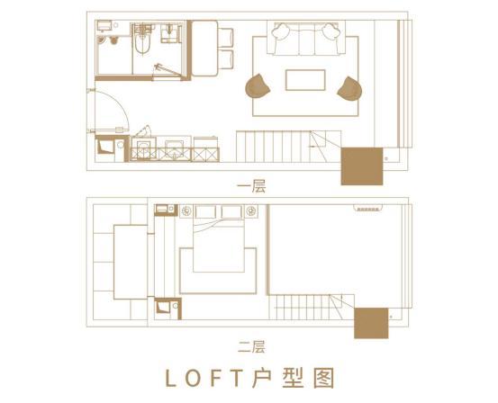 济南世茂天悦公寓LOFT户型图1