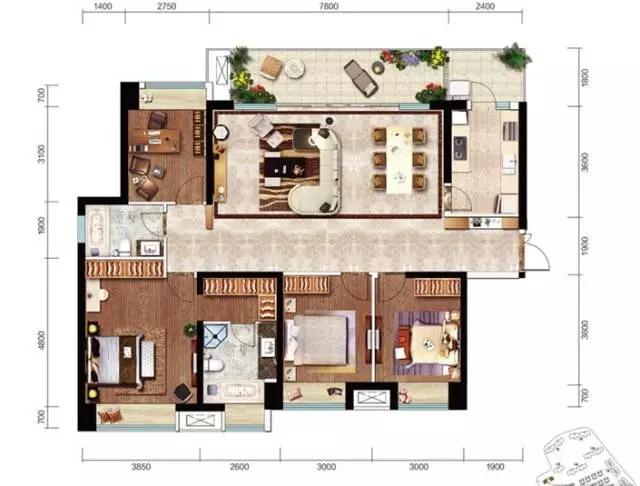 济南历城电建洺悦府168㎡  三房两厅双卫 户型图2