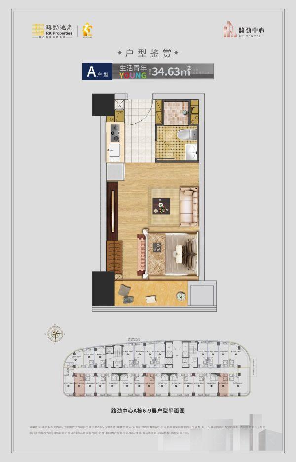 济南历城区路劲中心公寓户型图2