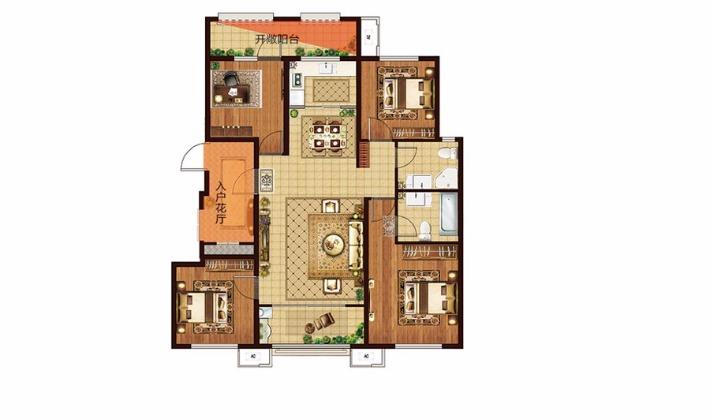 8#D户型128平米4室2厅2卫1厨