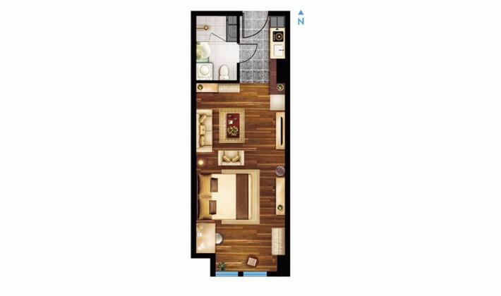 C户型51平米1室