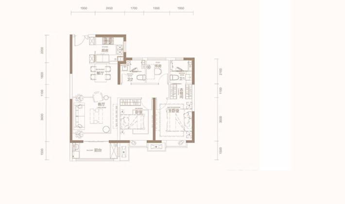 B户型3室105平米