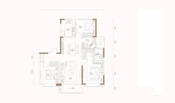C1户型125平米3室