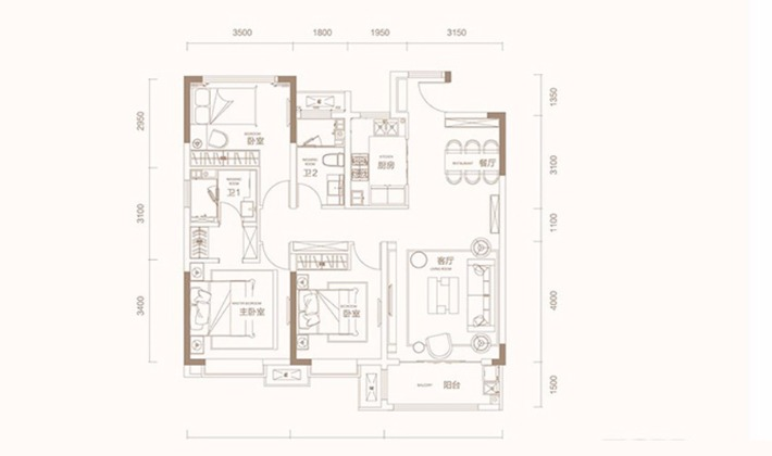 C2户型125平米3室