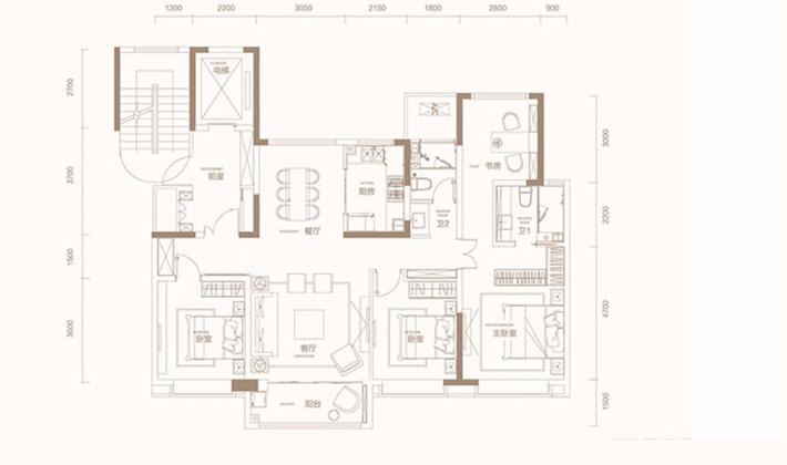 D1户型4室140平米