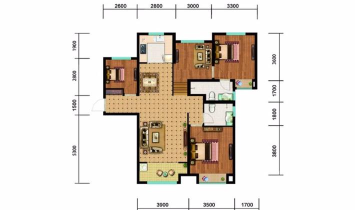 北区4#5#6#楼A户型130平米3室2厅2卫1厨