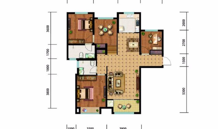 北区4#5#6#楼B户型130平米3室3厅2卫1厨