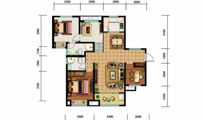 北区11#16#楼D户型130平米3室3厅2卫1厨
