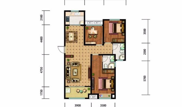 北区11#16#楼F户型130平米3室2厅2卫1厨