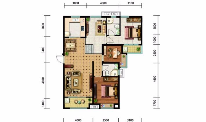 北区11#16#楼G户型140平米3室3厅2卫1厨