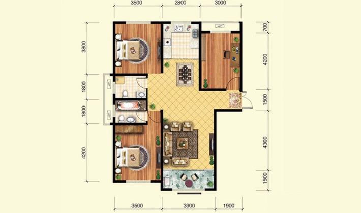 12#B2户型121平米3室2厅2卫1厨