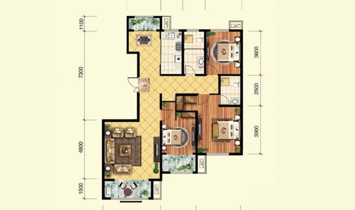 13.14.17-19#楼B5户型142平米3室2厅2卫1厨