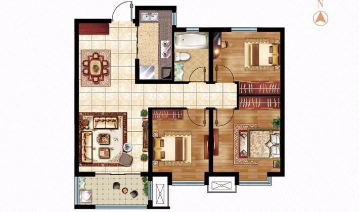 A1户型95平米3室2厅1卫1厨