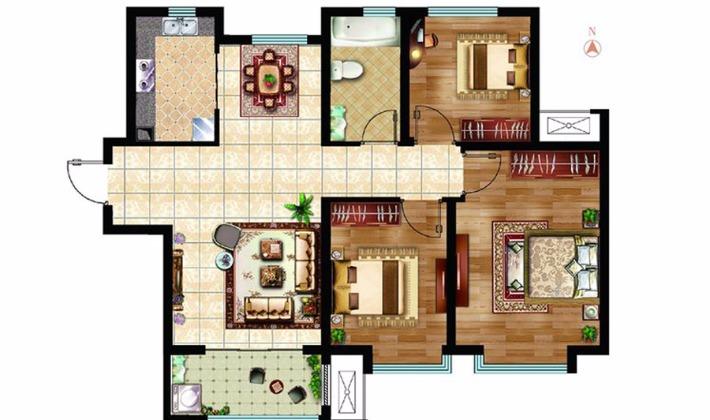 A2户型96平米3室2厅1卫1厨