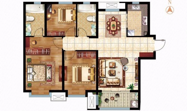 B1户型107平米3室2厅2卫1厨