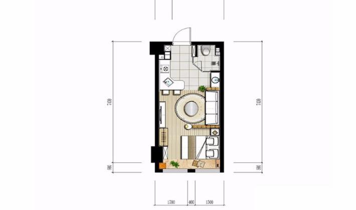 中戶型平面圖35平米1室1廳1衛1廚