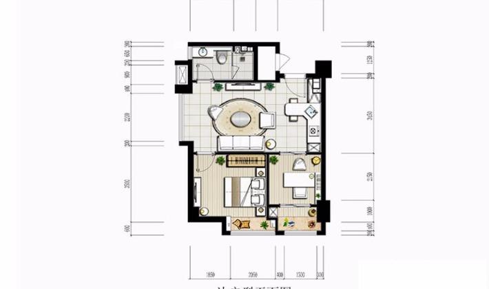 邊戶平面圖63平米2室1廳1衛1廚