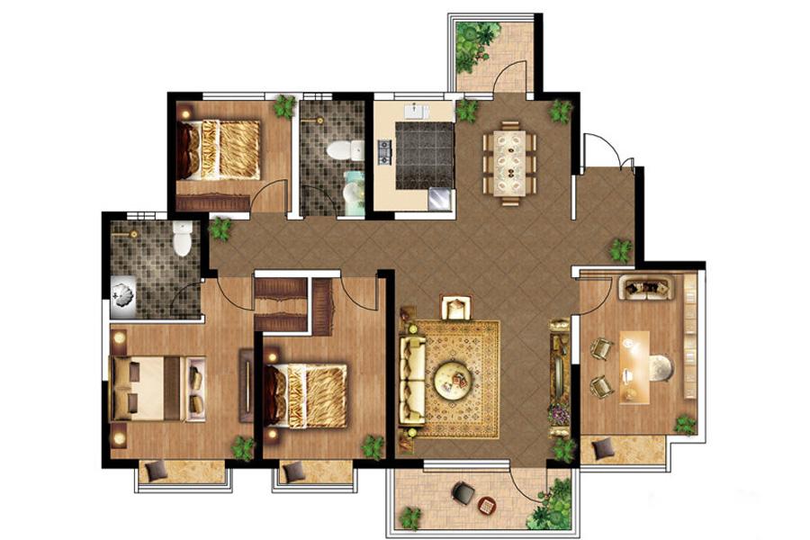 E户型, 4室2厅2卫1厨, 建筑面积约140.00平米