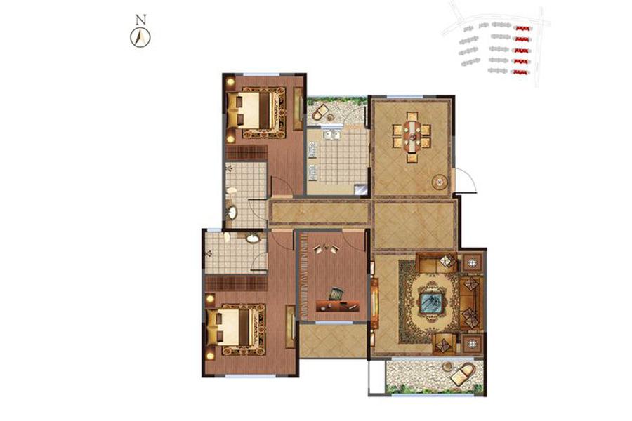洋房1-5#楼B-2次户型