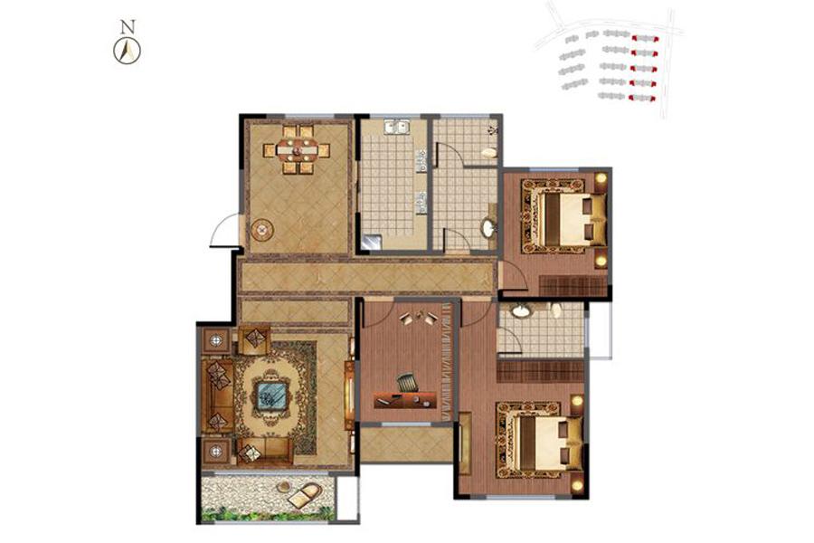 洋房1-5#楼C-2户型