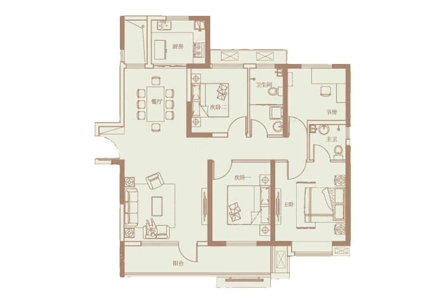 136㎡户型4室2厅2卫1厨