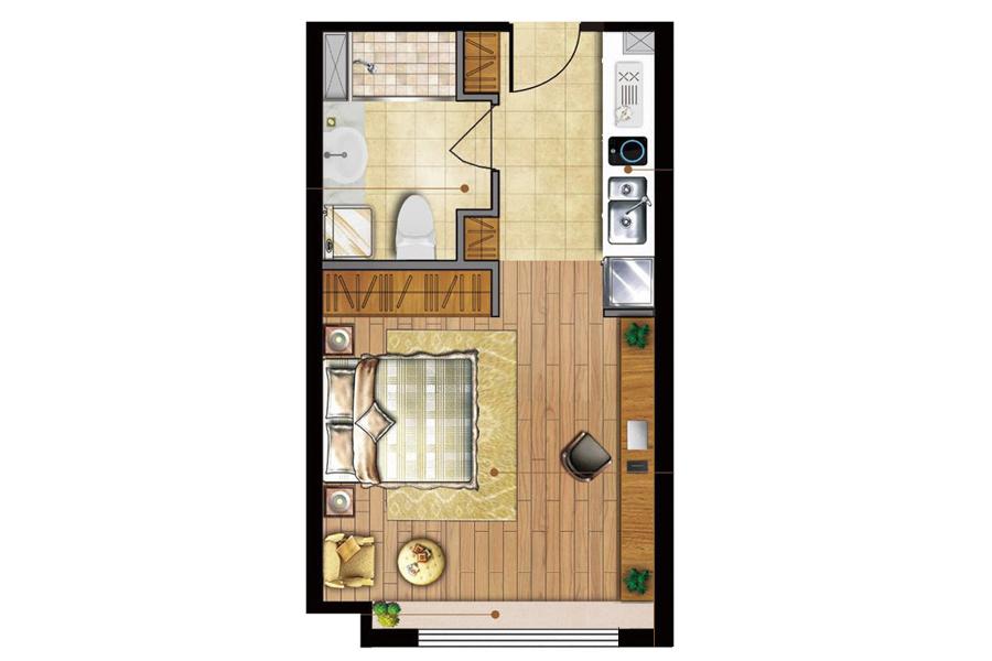A户型商住建筑面积约40.00平米