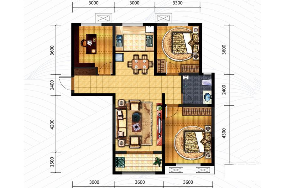 110㎡户型 3室2厅1卫0厨