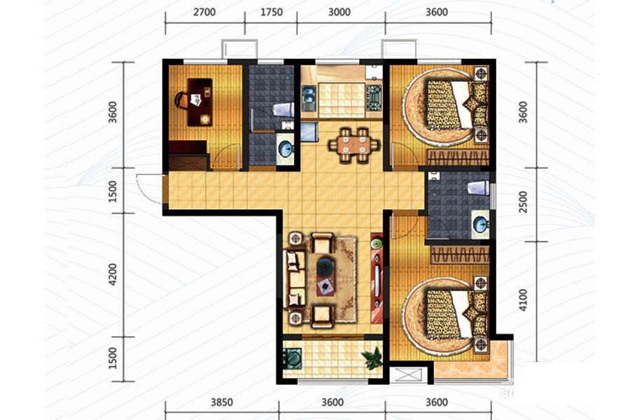 120㎡户型3室2厅2卫0厨