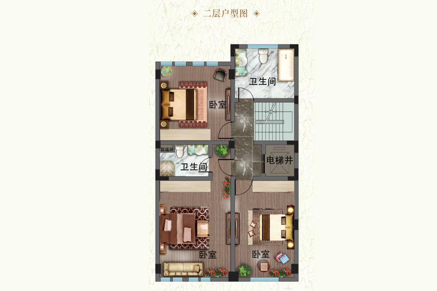 建面约352平观山联排别墅L-1户型二层