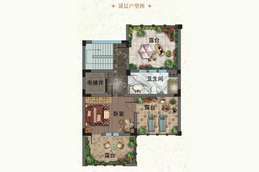 建面约455平藏山双拼别墅L-7户型顶层