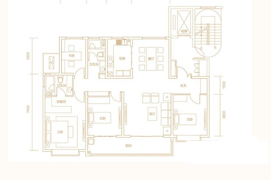 B13地块I户型170平4室2厅2卫