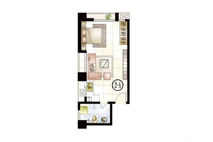 公寓2號樓A戶型51.75平米1室1廳1衛1廚