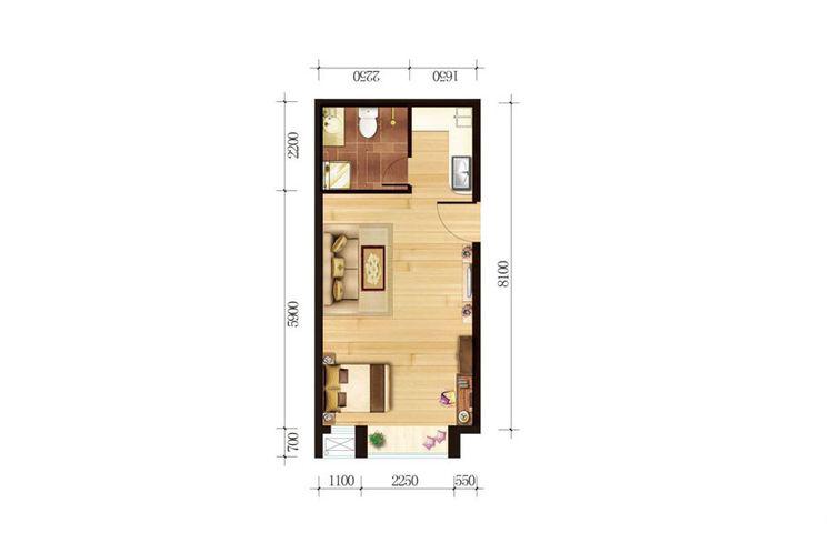 公寓2號樓戶型五58.42平米一室一廳一廚一衛