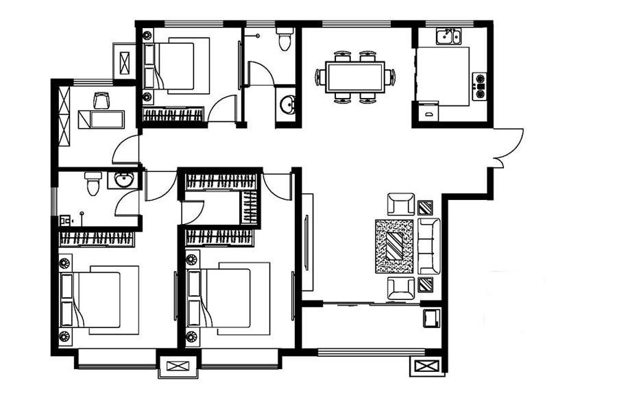 A戶型, 4室2廳2衛1廚, 建筑面積約158.95平米