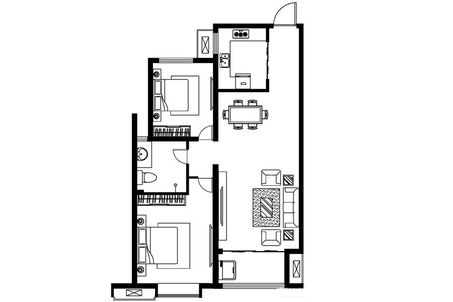 C戶型, 2室2廳1衛0廚, 建筑面積約92.26平米