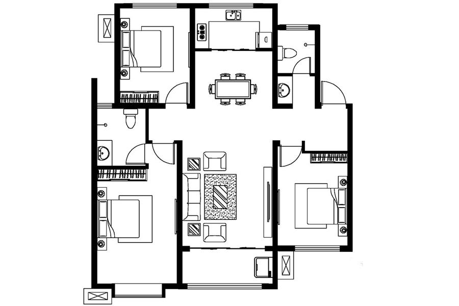 D戶型, 3室2廳2衛1廚, 建筑面積約127.35平米