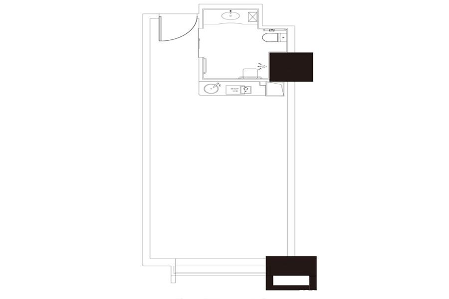 公寓户型1, 商住, 建筑面积约65.25平米