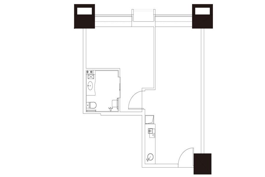 公寓户型4, 商住, 建筑面积约84.82平米