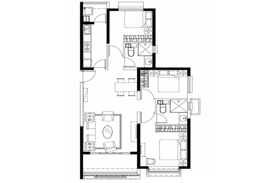 户型25-1, 3室2厅2卫1厨, 建筑面积约129.65平米