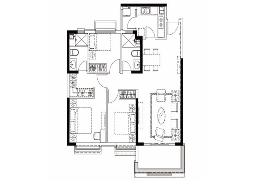 户型25-2, 3室2厅2卫1厨, 建筑面积约129.43平米
