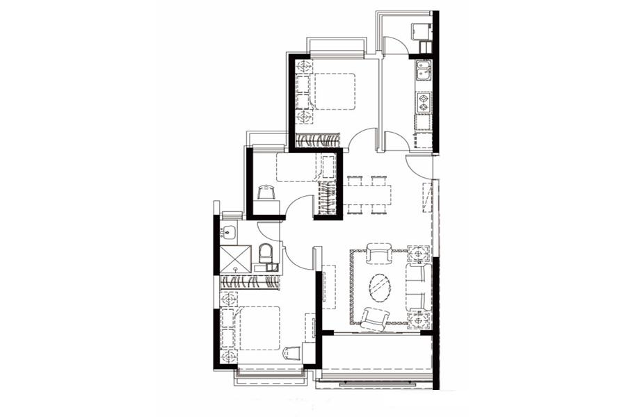 户型25-4, 3室2厅1卫1厨, 建筑面积约113.16平米