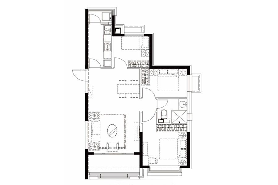 户型27-1, 3室2厅1卫1厨, 建筑面积约117.15平米