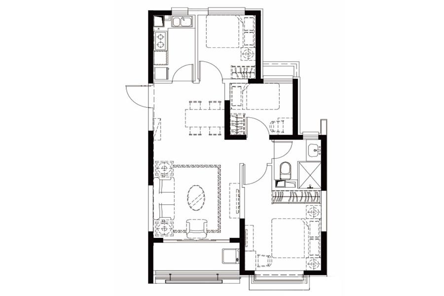 户型27-2, 3室2厅1卫1厨, 建筑面积约99.40平米