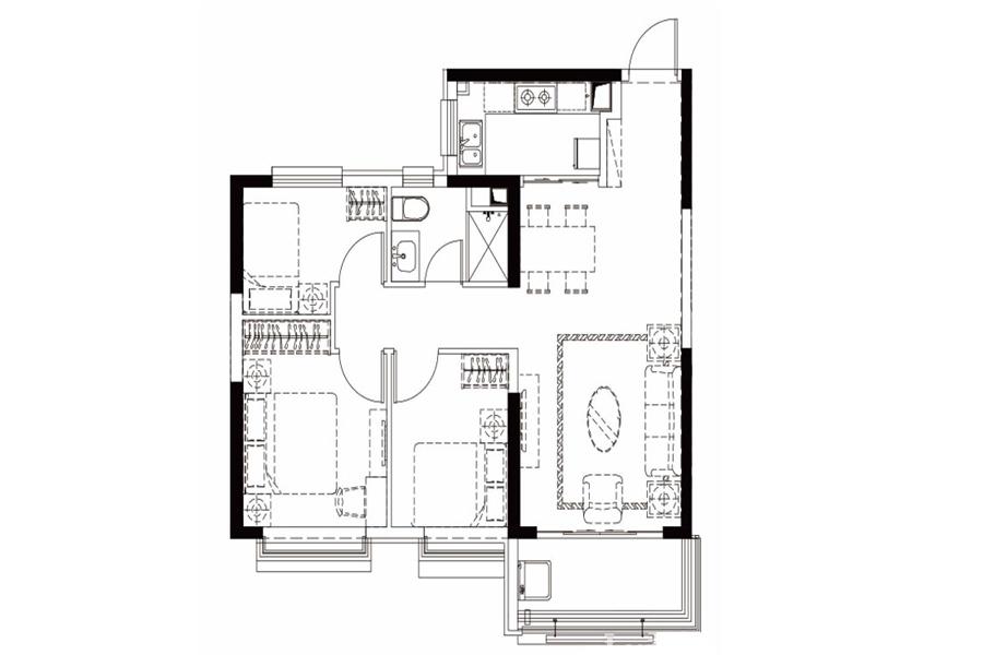 户型B27-1, 3室2厅1卫1厨, 建筑面积约105.14平米