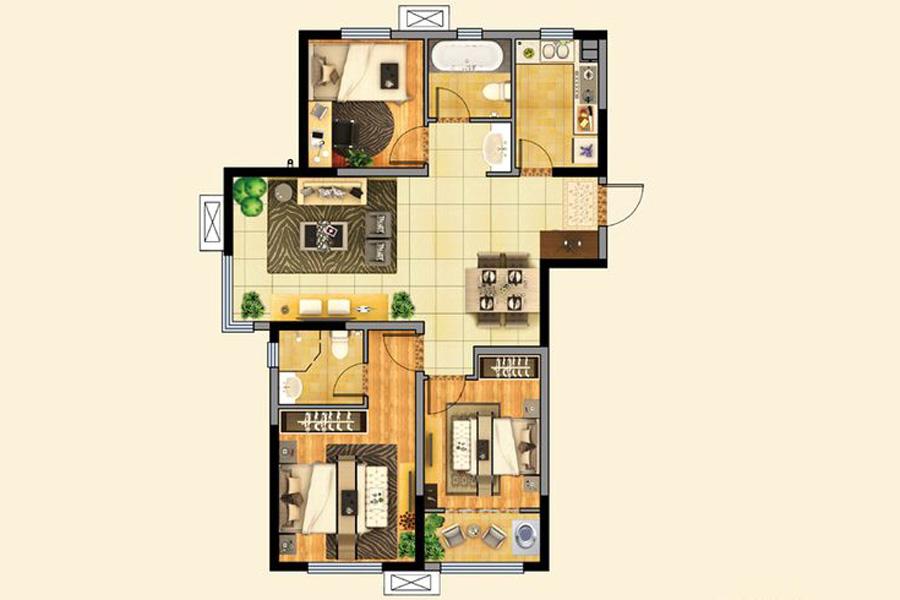 二期7、8、9、11、12#楼F户型120平米3室2厅2卫1厨