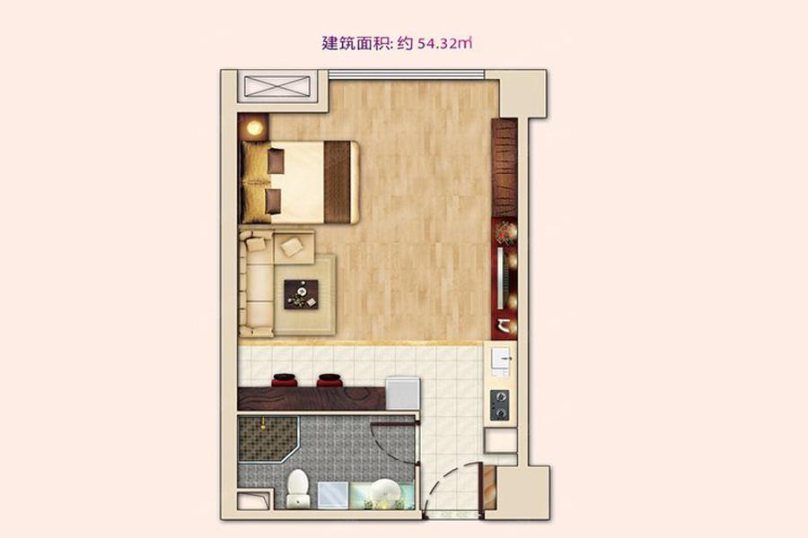 公寓5#H户型54平米1室1厅1卫1厨